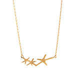 Rose Gold Three Starfish Necklace
