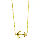 Gold Sideways Anchor Necklace