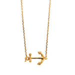 Rose Gold Sideways Anchor Necklace