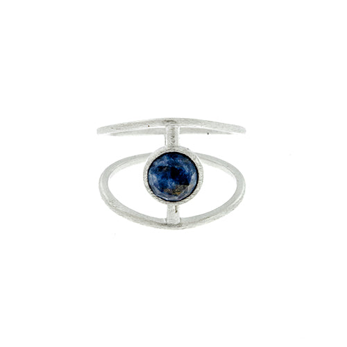 Blue Lapis Stone Cage Ring