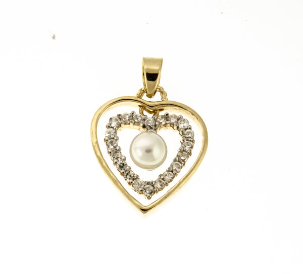 Gold Vermeil CZ and Pearl Double Heart Pendant