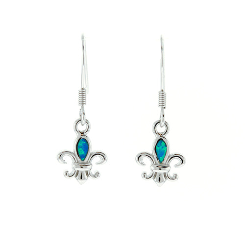 Blue Opal Fleur de Lis Earrings