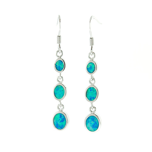 Blue Opal Three Drop Earrings