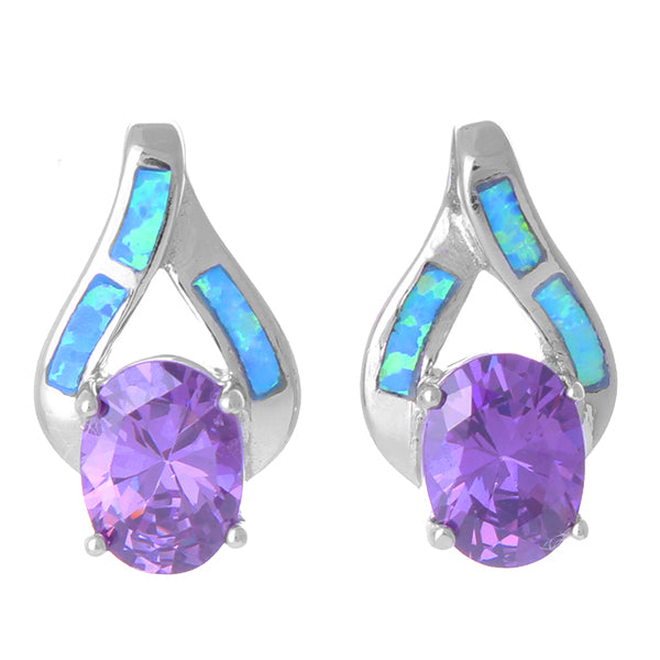 Blue Opal and Amethyst CZ Teardrop Earrings