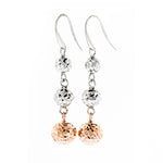 Silver and Rose Gold DC Ball Drop Earrings