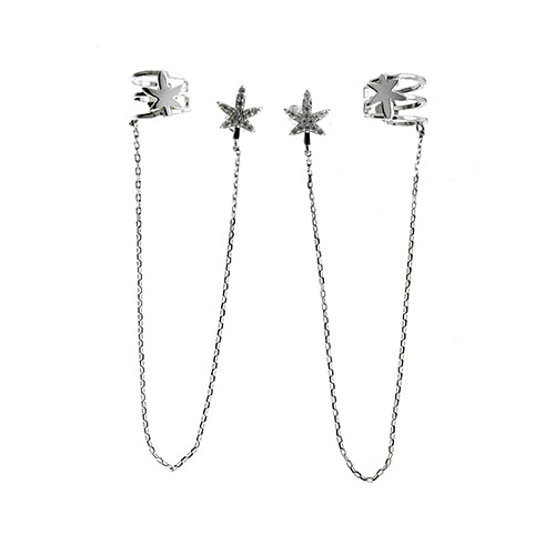 Silver CZ Star Ear Cuffs