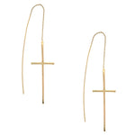 Gold Vermeil Cross Threader Earrings