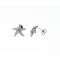 Silver CZ Starfish Earrings