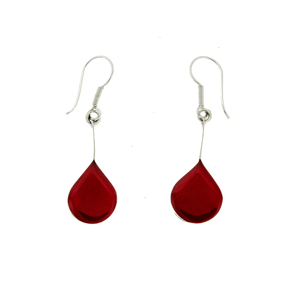 Red Coral Rounded Teardrop Earrings
