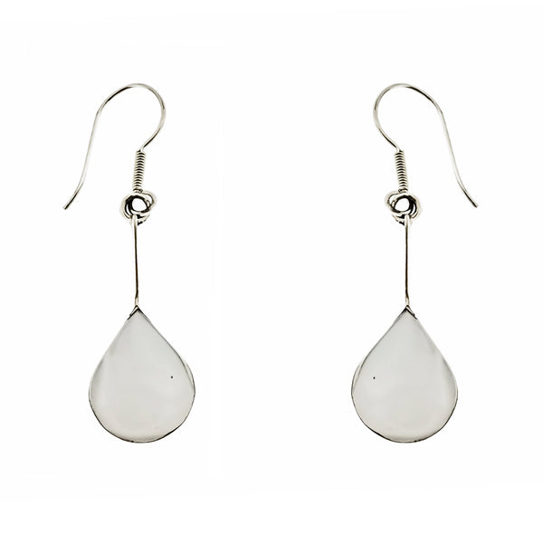 White Shell Rounded Teardrop Earrings