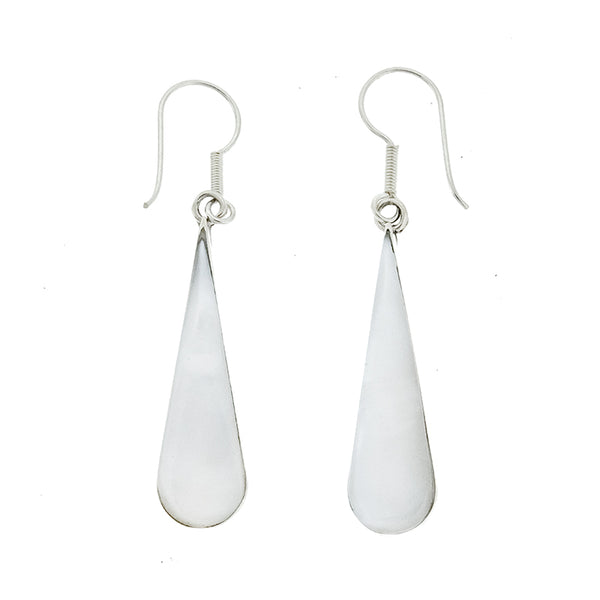 White Shell Long Teardrop Earrings