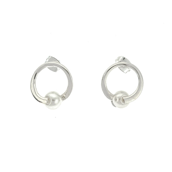 Pearl Circle Post Earrings