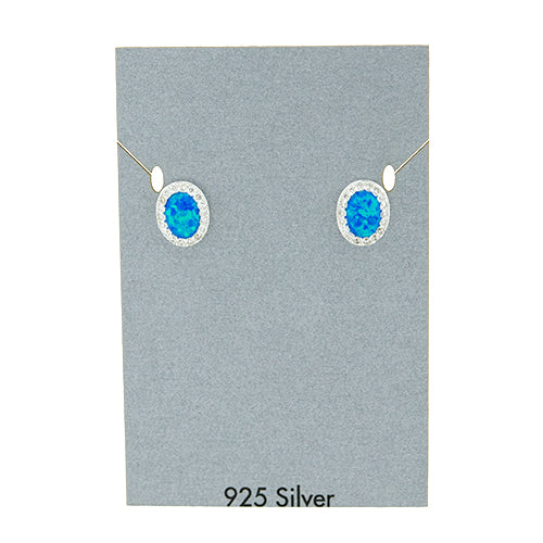 Oval Blue Opal and CZ Earrings