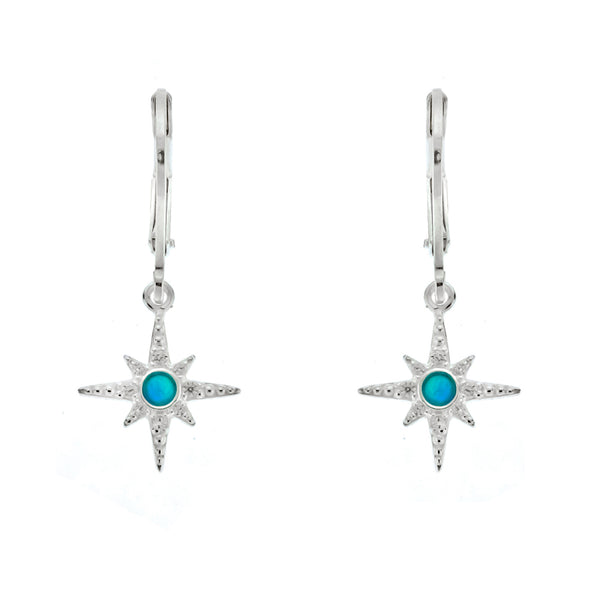 Blue Opal and CZ Star Leverback Earrings