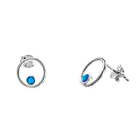 Floating Blue Opal Circle Earrings