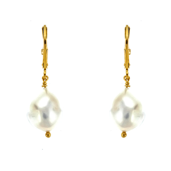 Gold Vermeil Baroque Pearl Leverback Earrings
