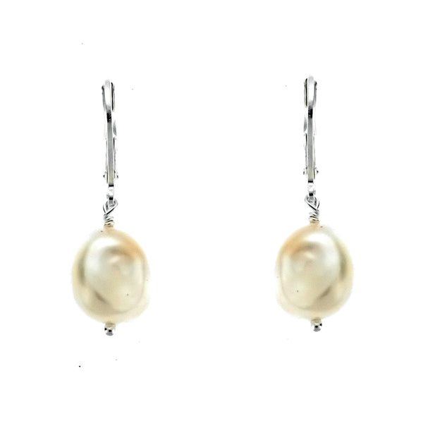 Baroque Pearl Leverback Earrings