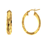 Gold Vermeil Oval Hammered Hoops