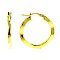 Gold Round Wavy Hoops