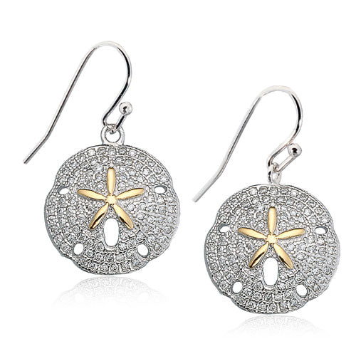 Micro Pave CZ Sand Dollar Earrings