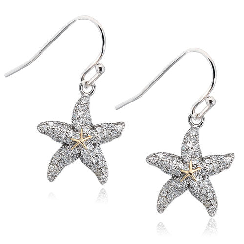 Micro Pave CZ Starfish Earrings