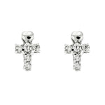 CZ Heart Cross Studs