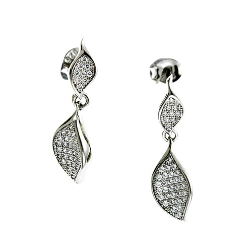 CZ Double Curved Oval Earrings