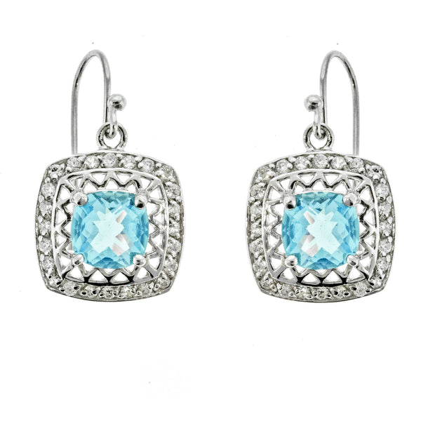 Aquamarine and CZ Filigree Earrings