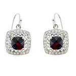 Garnet and CZ Filigree Earrings