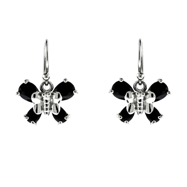 Black CZ Butterfly Earrings