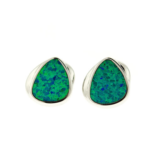 Blue Green Opal Triangle Studs