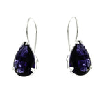 Amethyst Teardrop Wire Hook Earrings