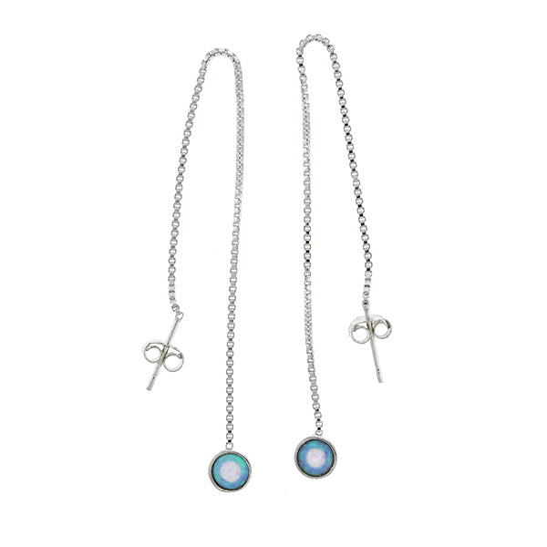 Blue Opal Threader Earrings