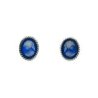 Blue Agate Rope Cameo Studs