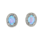 Oval CZ Opal Halo Earrings