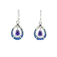 Opal and Amethyst Teardrop Earrings