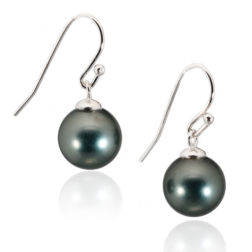 Black Pearl Fish Hook Earrings