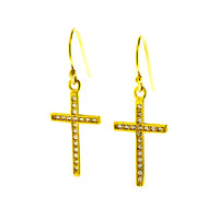 Micro Pave Cross Earrings