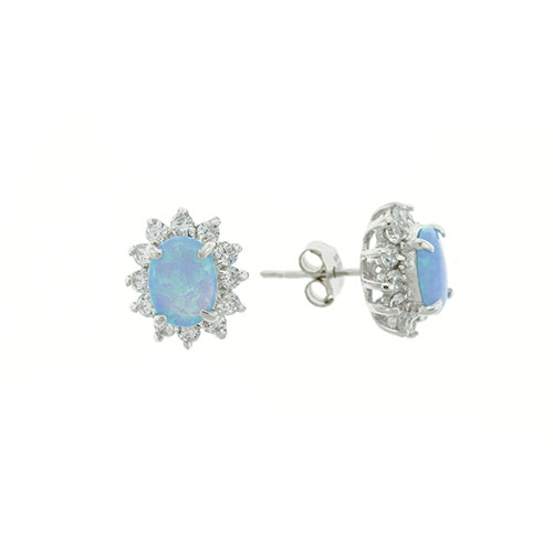 Blue Opal and CZ Sunflower Earrings