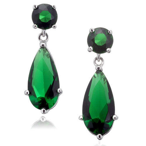 Emerald CZ Post Earrings