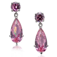 Pink CZ Dangling Earrings