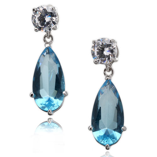 Blue Topaz CZ Post Earrings