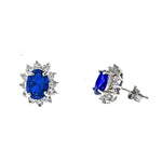 Sapphire and CZ Sunflower Post Earrings