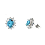 Aquamarine and CZ Sunflower Post Earrings