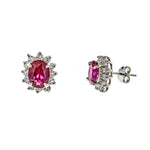 Ruby and CZ Sunflower Post Earrings