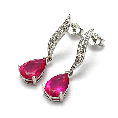 Ruby Teardrop Drop Earrings