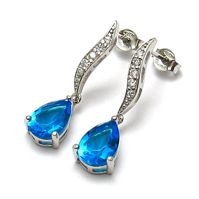 Blue Topaz Teardrop Drop Earrings