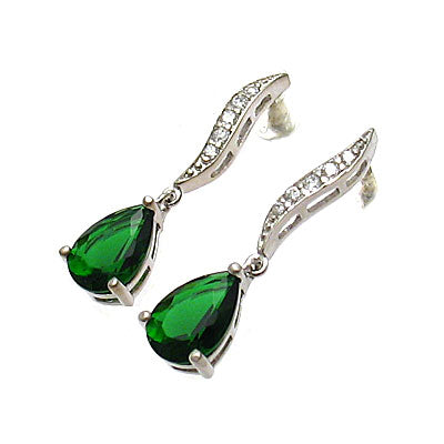 Emerald Teardrop Drop Earrings