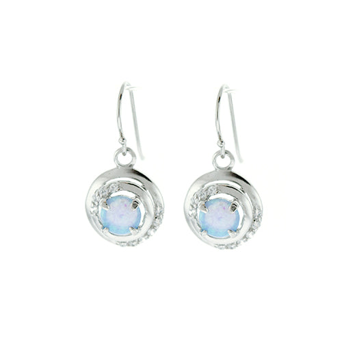 Round Blue Opal and CZ Earrings
