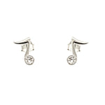 CZ Music Note Stud Earrings